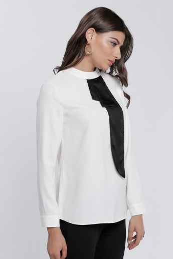 Side Bow Blouse with Long Sleeves