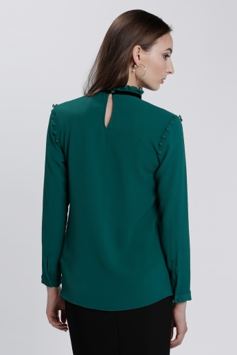 Tie Up Neck Top with Long Sleeves