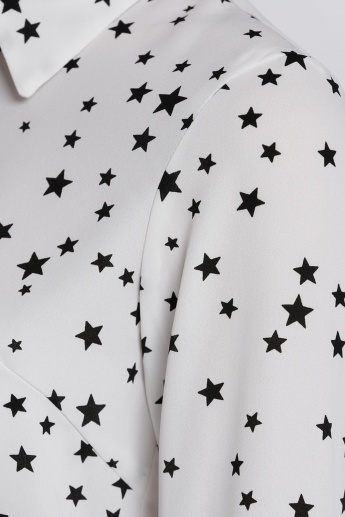Star Printed Shirt with Long Sleeves with Concealed Placket