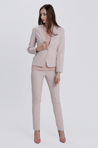 Notch Collar Blazer with Long Sleeves and Button Closure