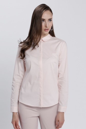 Shirt with Concealed Placket and Lace Detail