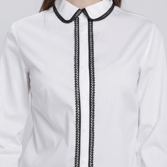 Shirt with Long Sleeves and Contrast Lace Detailing