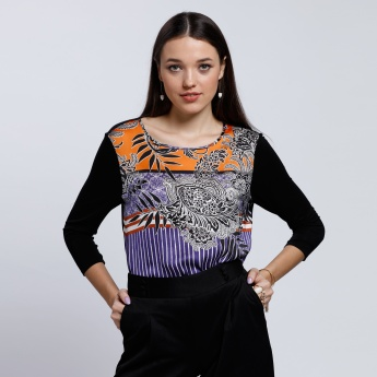 Printed Top with Round Neckline