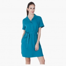 Notch-collared Dress with Waist Belt