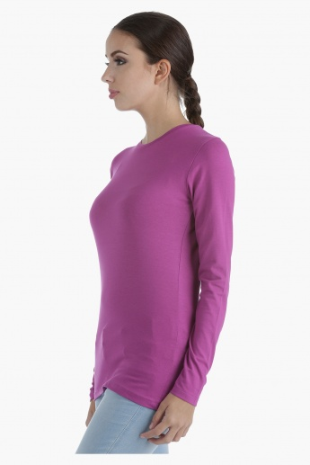 Basic Round Neck T-Shirt with Long Sleeves in Regular Fit