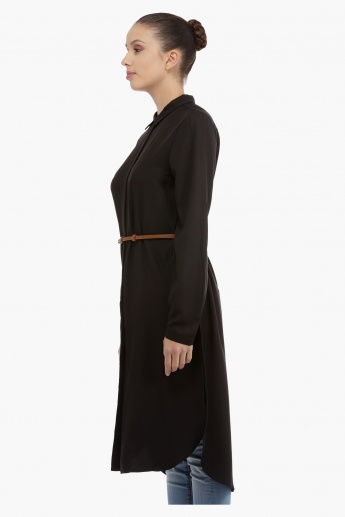 Woven Long Top with Collar