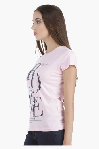 T-Shirt with Screen Print and Short Sleeves in Regular Fit