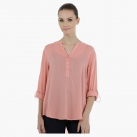 Long Sleeves Casual Top with High Low Hem