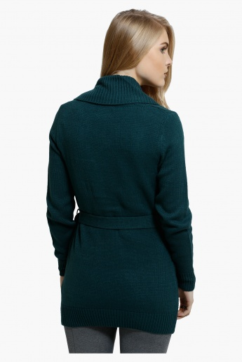 Knitted Front Open Jacket with Long Sleeves