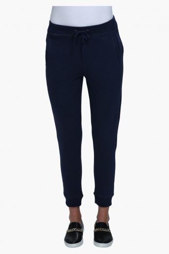 Knitted Jog Pants with Drawstring Waistband and Ribbed Cuffs