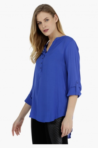 Basic Full-sleeved Henley Neck Top