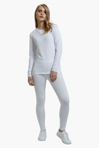 Full Length Leggings with Elasticised Waistband in Slim Fit