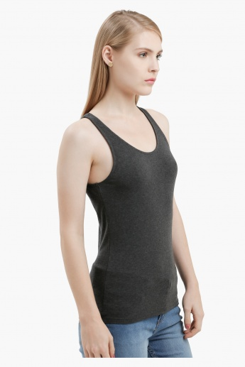 Sleeveless Round Neck Vest with Racerback