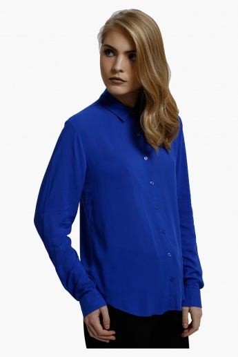 Woven Top with Long Sleeves in Regular Fit