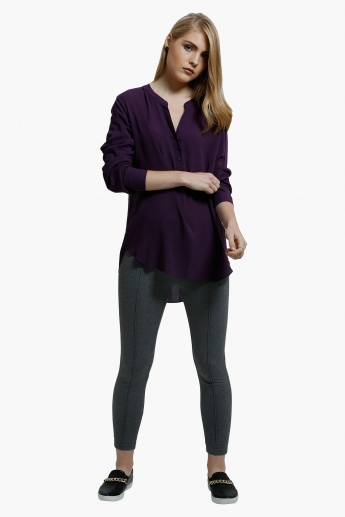 V-Neck Top with Long Sleeves
