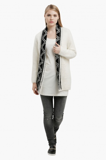 Sleeveless Long Vest with Round Neck