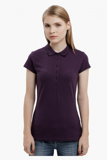 Polo Neck Top with Short Sleeves
