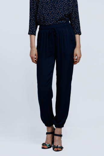 Woven Harem Pants with Elasticised Cuffs