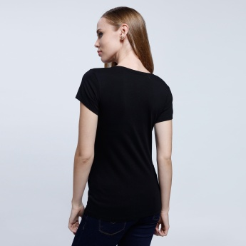 Round Neck Top with Short Sleeves