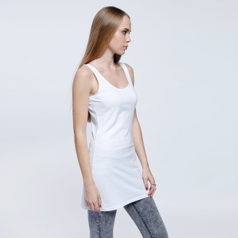 Sleeveless Long Vest Top with Round Neck