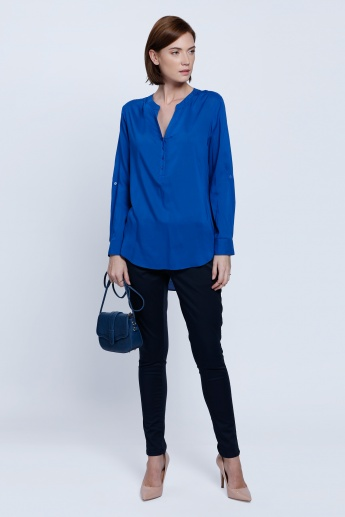 Long Sleeves Top with Half Placket