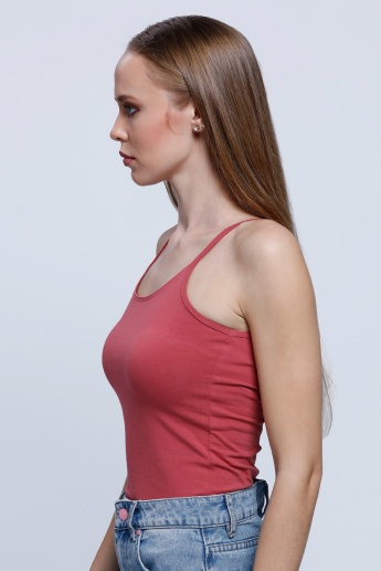 Spaghetti Top with Round Neck