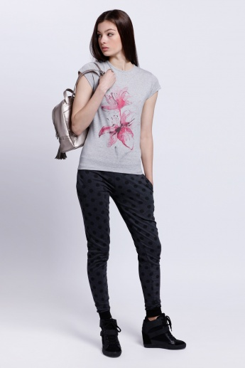 Floral Print T-Shirt with Short Sleeves