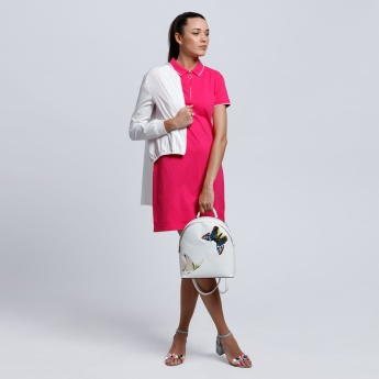 Polo Neck Midi Dress with Short Sleeves