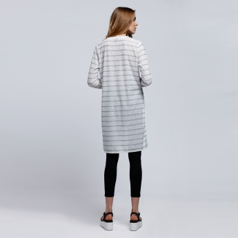 Striped Round Neck Top with Long Sleeves and High low Hem