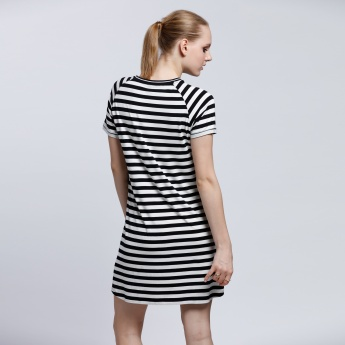 Striped Short Sleeves Dress with Round Neckline