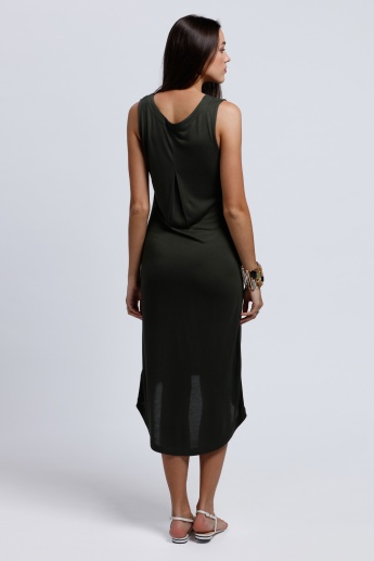 Sleeveless Dress with High Low Hem