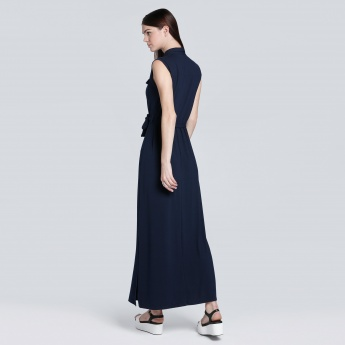 Sleeves Maxi Dress with Side Slit
