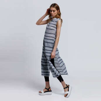 Striped Sleeveless Longline Top with Front Slit and Button Placket