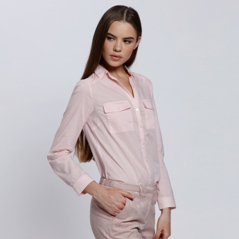 Long Sleeves Shirt with Complete Placet on the Front