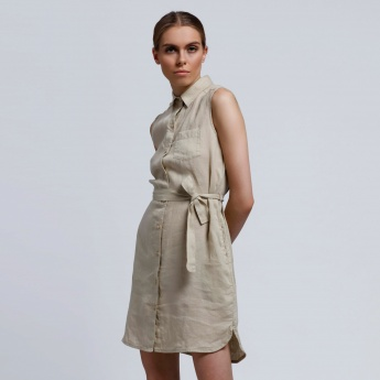 Sleeveless Dress with Button Placket and Tie Up