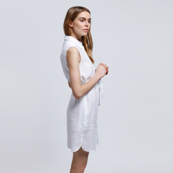 Sleeveless Shirt Dress with Tie Up
