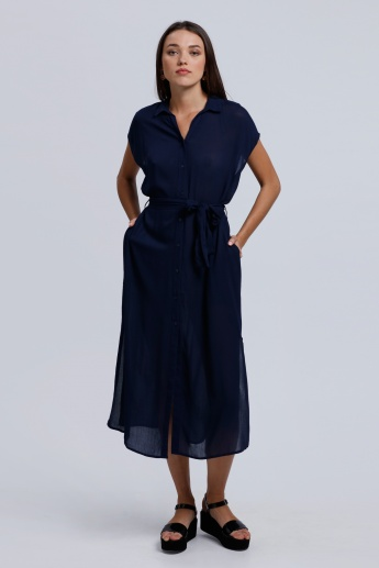 Long Shirt Dress with Short Sleeves