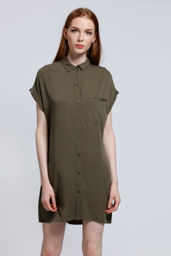 Short Sleeves Shirt Dress with Complete Placket and Patch Pocket
