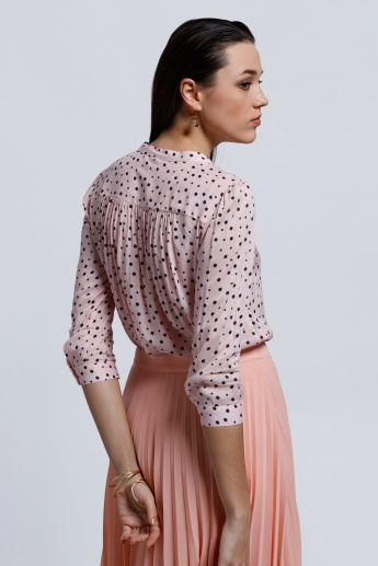 Printed Shirt with 3/4 Sleeves and Mandarin Collar