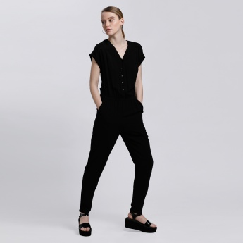 V-Neck Jumpsuit with Short Sleeves