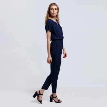 Full Length Jumpsuit with V-Neck and Short Sleeves