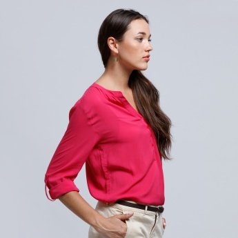 Roll Up Sleeves Shirt with Button Closure