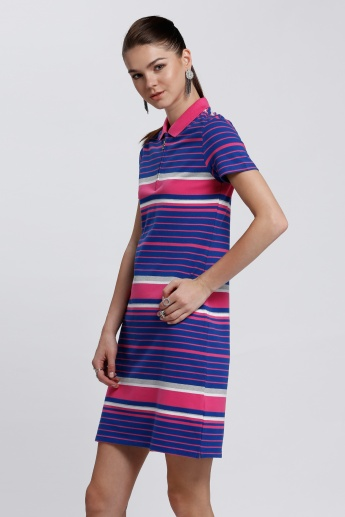 Striped Tunic Top with Polo Neck and Short Sleeves