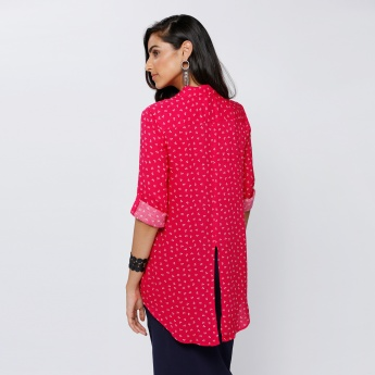 Printed High Low Hem Shirt with Roll Up Sleeves and Back Slit