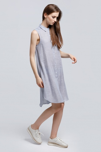 Collared Striped Sleeveless Shirt Dress