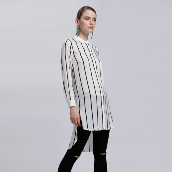 Striped Shirt with High Low Hem