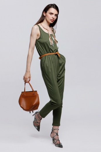 Full Length Jumpsuit with Round Neckline