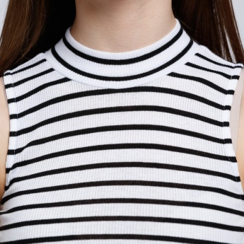 Striped Sleeveless Crop Top with High Neck