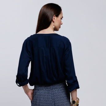 Roll Up Sleeves Top with Half Button Placket