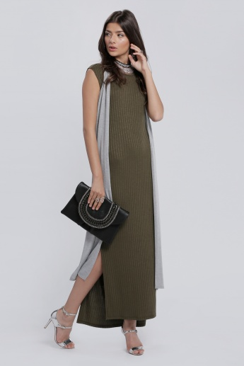 Ribbed Sleeveless Maxi Dress with Round Neck and Side Slits